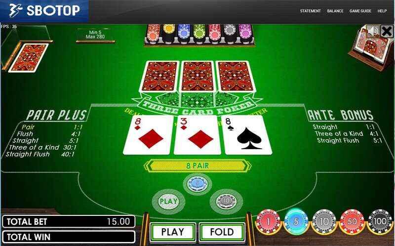 เดิมพันกับดีเลอร์ Sbotop Poker Review ด้วยเกมไพ่ 3 ใบ